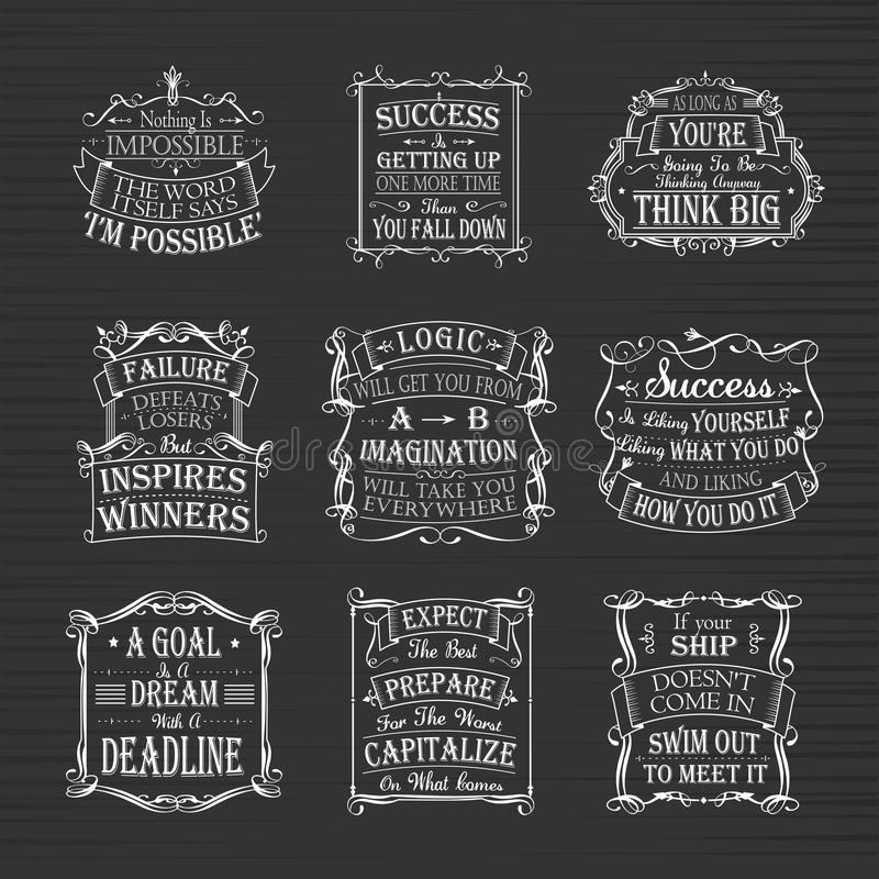 Motivational and inspirational quotes set. Isolated on brown background vector illustration
