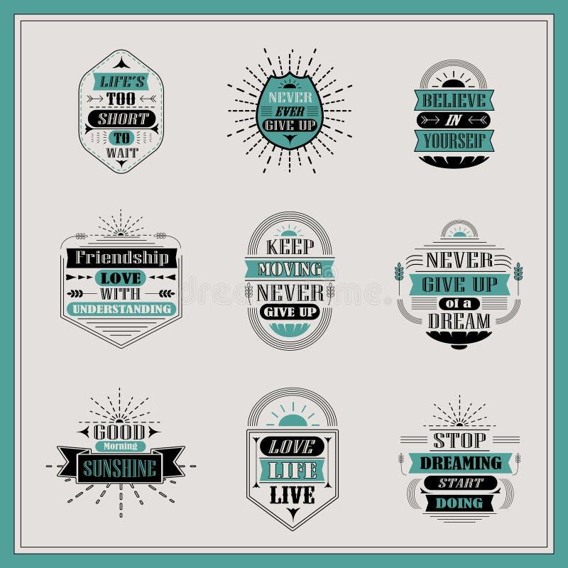 Motivational and inspirational quotes set. Isolated on grey background stock illustration