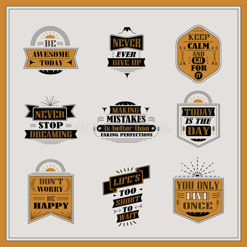 Motivational and inspirational quotes set. Isolated on grey background royalty free illustration