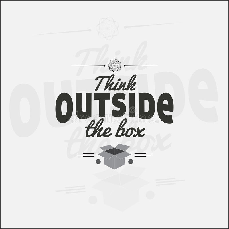 Motivational poster. Think outside the box. Motivational poster. Minimalist background vector illustration
