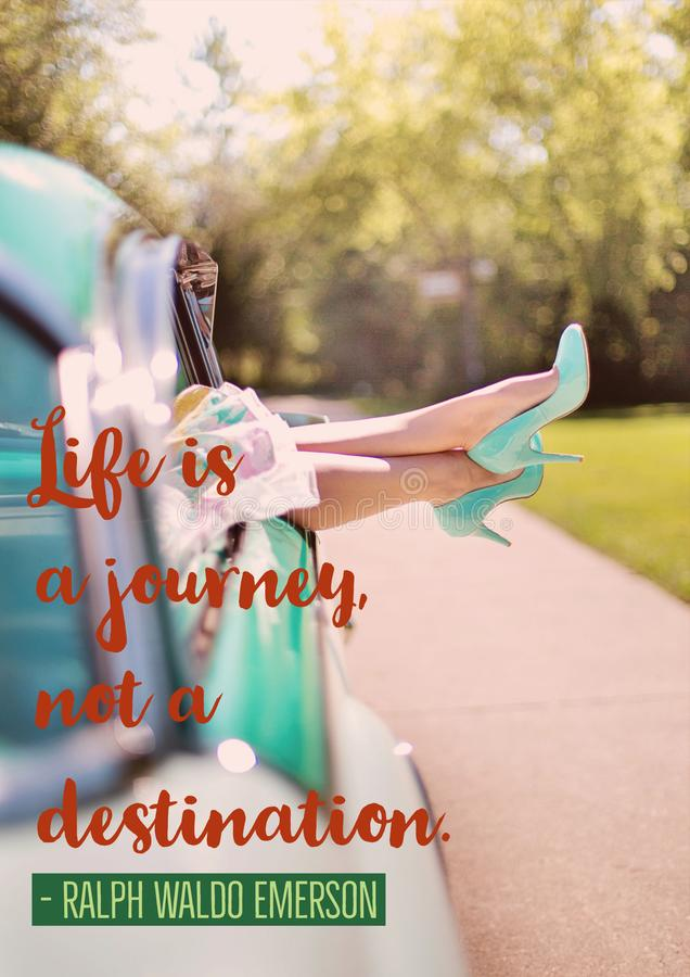 Motivational Quote - Life is a journey, not a destination stock image