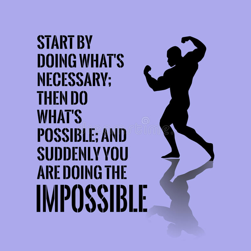 Motivational quote. Success. Start by doing what`s necessary royalty free stock image