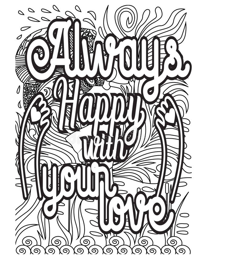 Inspirational Words Coloring Book Pages.motivational Quotes Coloring Pages  Design Stock Vector - Illustration Of Adult, Book: 183780884