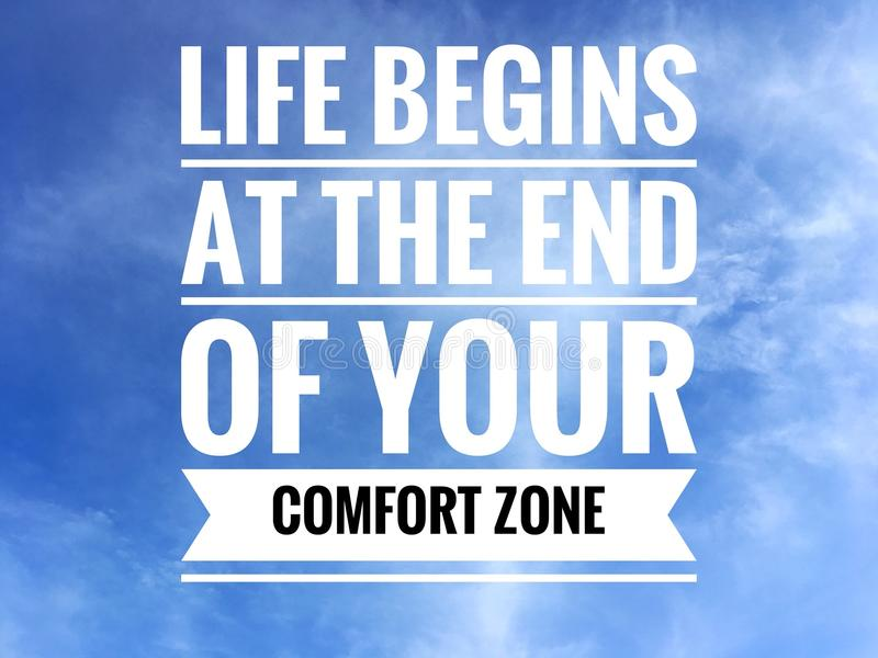 Motivational quotes on nature background a life begins at the end of your comfort zone stock photo