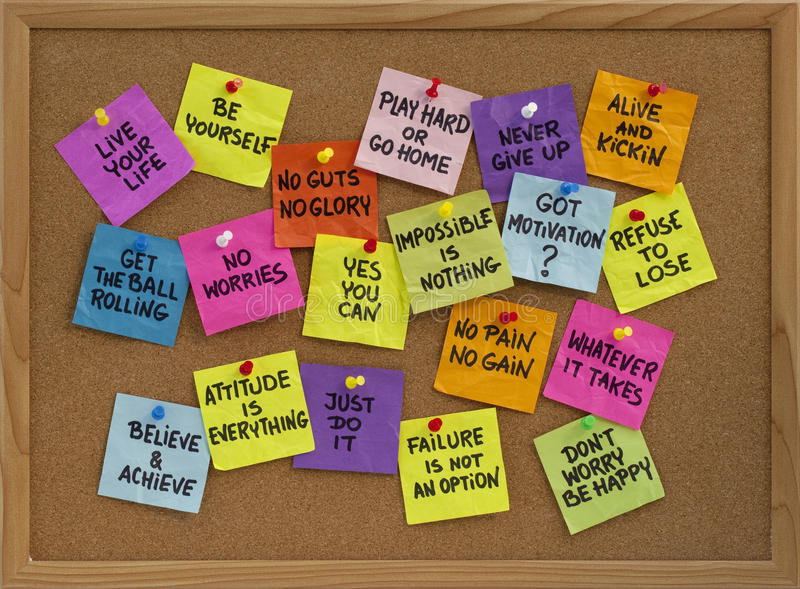 Download Motivational Reminders On Bulletin Board Stock Photo - Image of phrase, white: 12648796