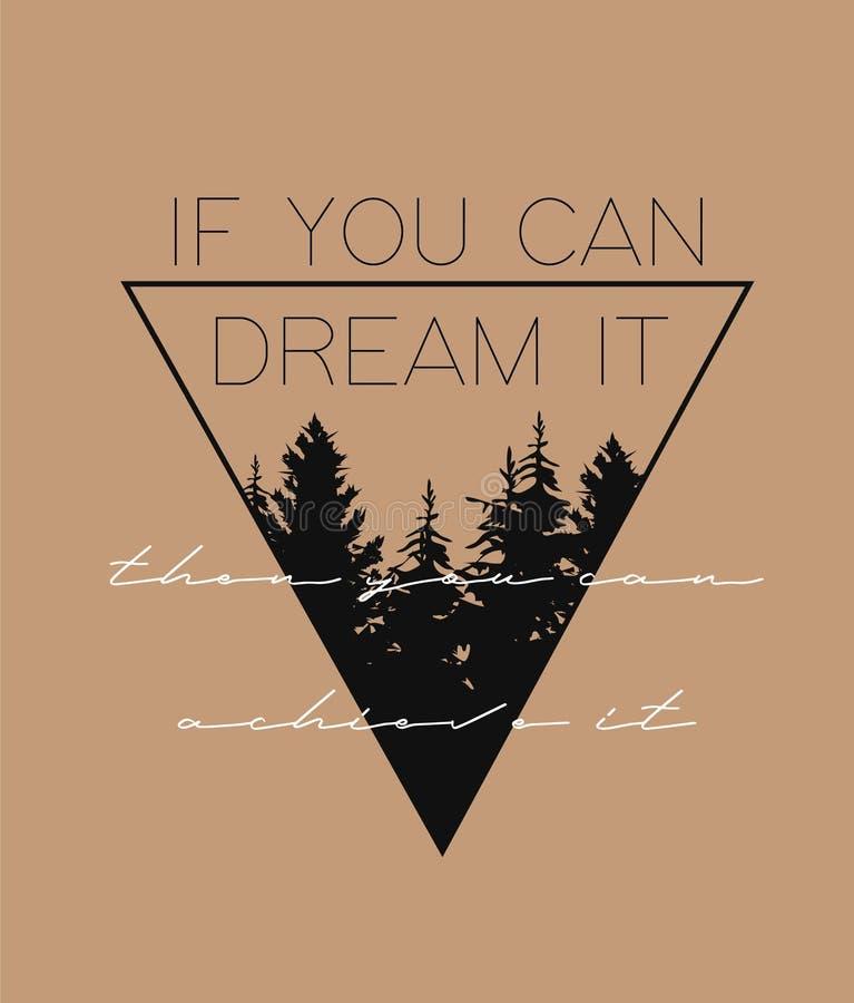 Motivational slogan med triangelillustrationen Göra perfekt för dekoren liksom affischer, väggkonst, totopåsen, t-skjorta tryck vektor illustrationer