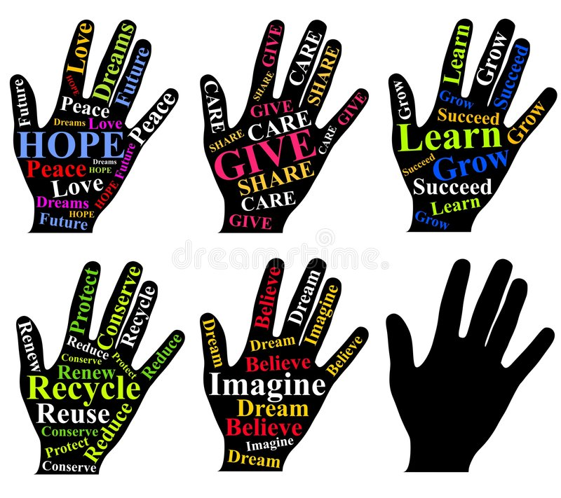 Download Motivational Words As Art On Human Hands Stock Illustration - Image: 4122991