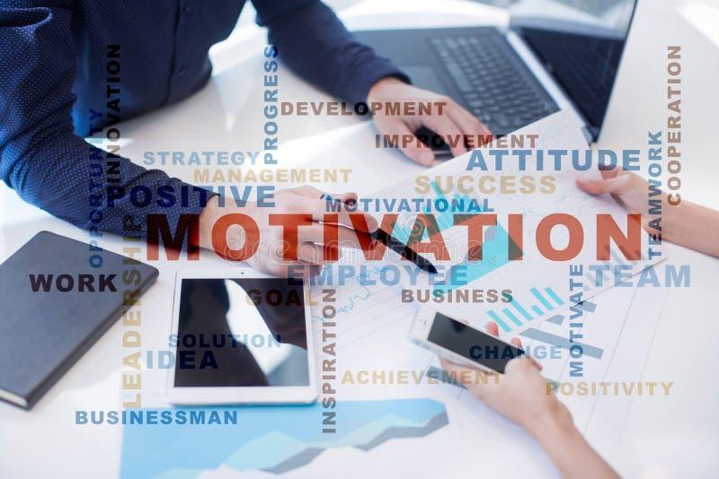 Motivationbegrepp på den faktiska skärmen Ordmoln arkivfoton