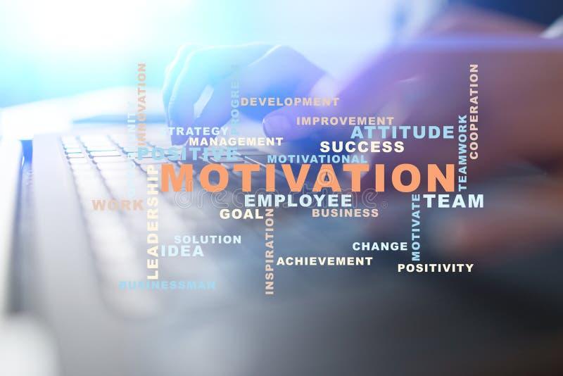 Motivationbegrepp på den faktiska skärmen Ordmoln stock illustrationer
