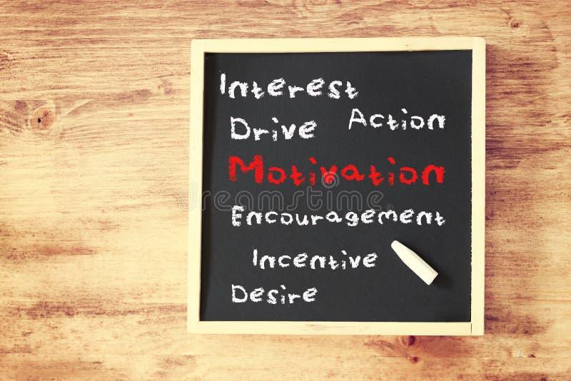Motivationbegreppshand som är skriftlig på svart tavla arkivfoton