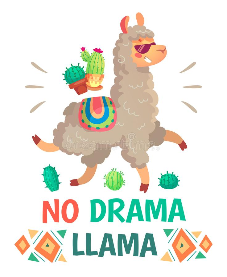 Motivationbokstäver med ingen dramalama Kyla illustrationen för alpaca- eller lamatecknad filmungar royaltyfri illustrationer