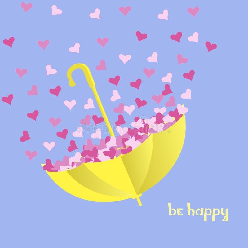 Motivationkortet är lyckligt Ljust gult paraply med rosa hjärtor på blå bakgrund vektor illustrationer