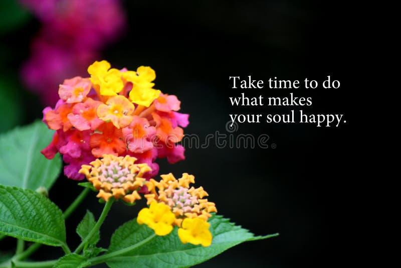 Motivationswörter mit Blumenhintergrund lizenzfreies stockbild
