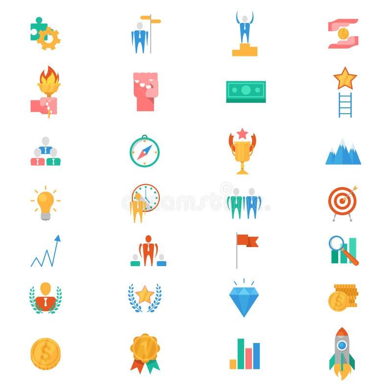 Motivationsymbolsvektorn motiverade affärstecken att inspirera för prestationmål och framgångillustrationen av royaltyfri illustrationer