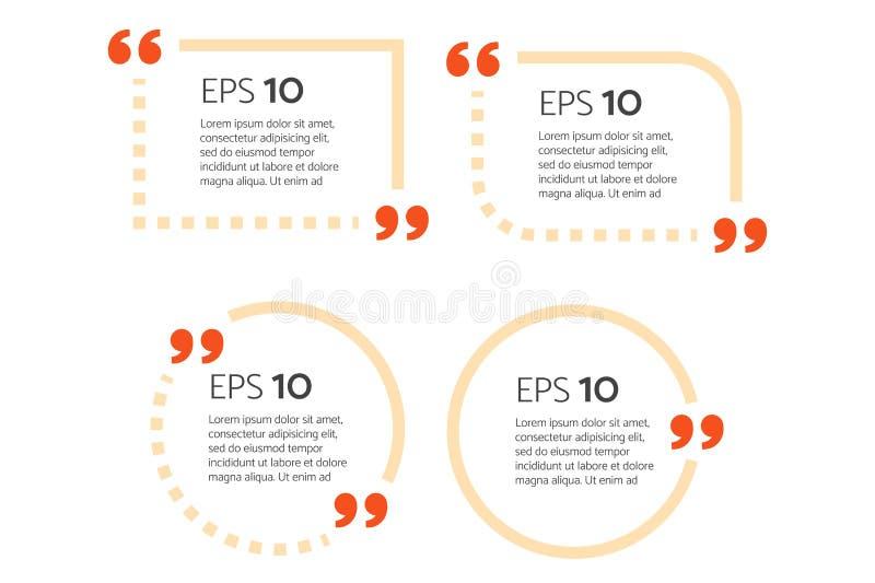 Motivationszitat-Kastenschablone mit editable Entwurfsanschlag Zitatblase Leere Schablone Papierblatt, Informationen, Text stock abbildung
