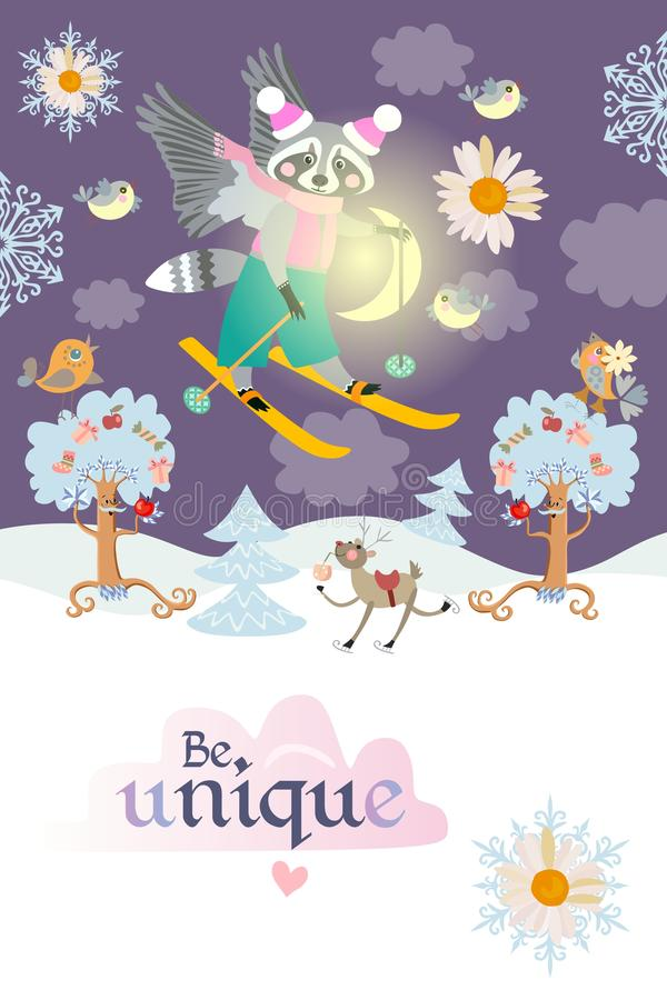 Motivator `Be unique!` Beautiful card with a funny winged raccoon skiing in the night sky among the clouds over the winter forest royalty free illustration