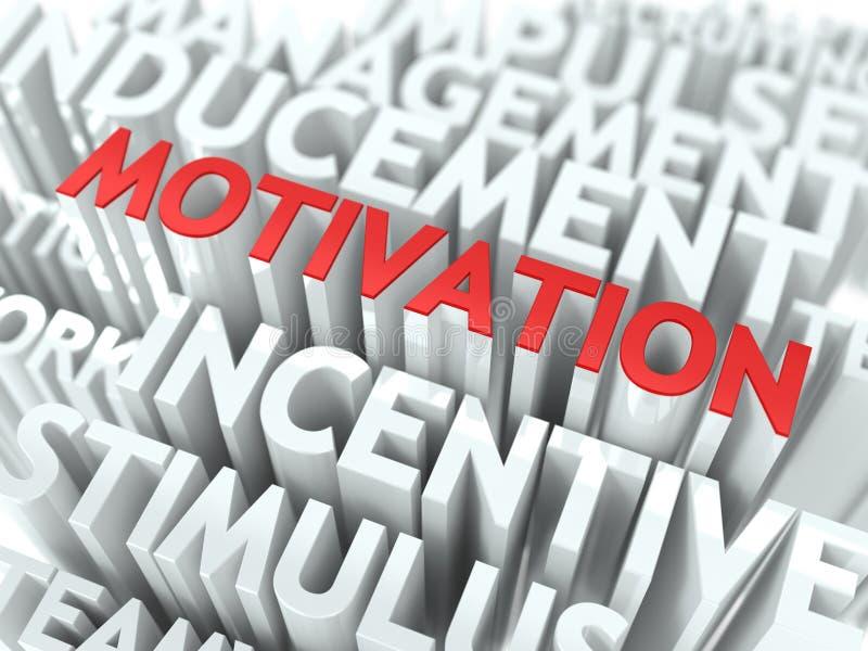Motivazione - testo rosso su Wordcloud bianco. illustrazione di stock