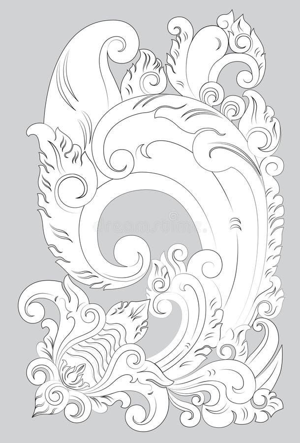 MotivBali linje konst stock illustrationer
