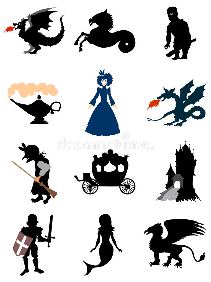 Motive of fairy tale. Set of silhouettes from fairy tales vector illustration