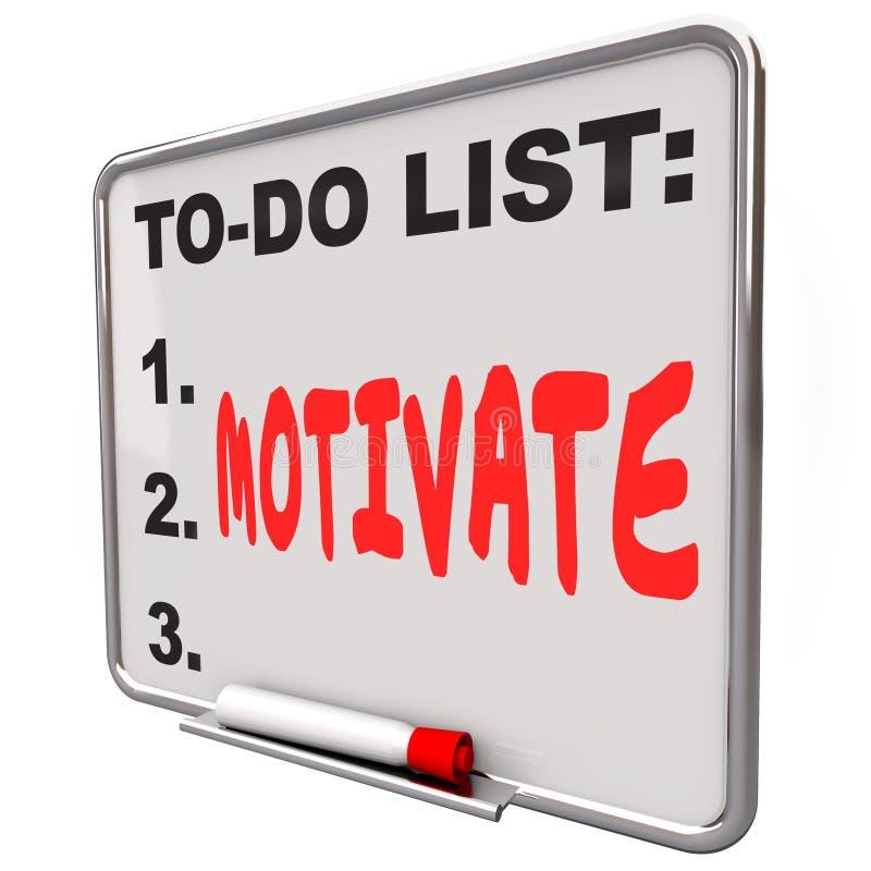 Motivera det torra raderingsbrädet för ordet för att göra listan uppmuntrar inspirerar vektor illustrationer