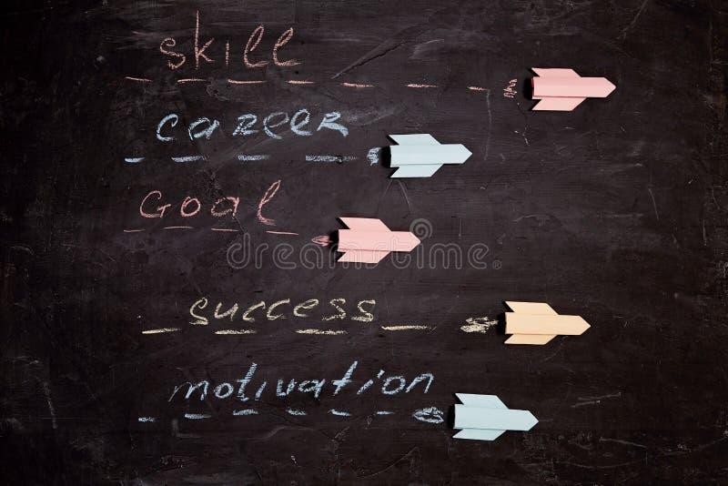 Motivering och framgångskoncept: Flerfärgade raketer med inskriptionsmål, innovation, kreativitet, individualitet arkivbilder
