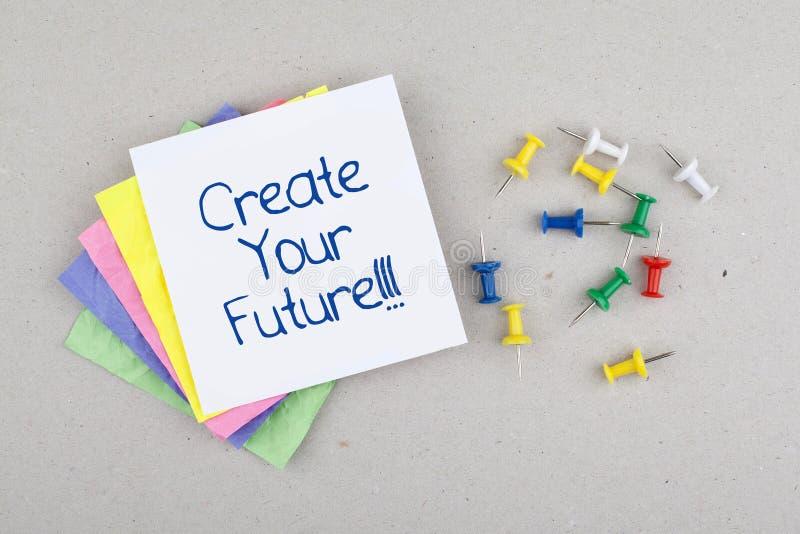 Motivgeschäfts-Phrase/schaffen Ihre Zukunft stockbilder