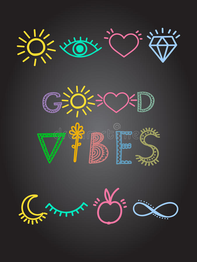 Motivhand plakat des inspirierend Zitats gezeichnet, bunte Linien gute Schwingungen beschriftend mit positiven Symbolen stock abbildung