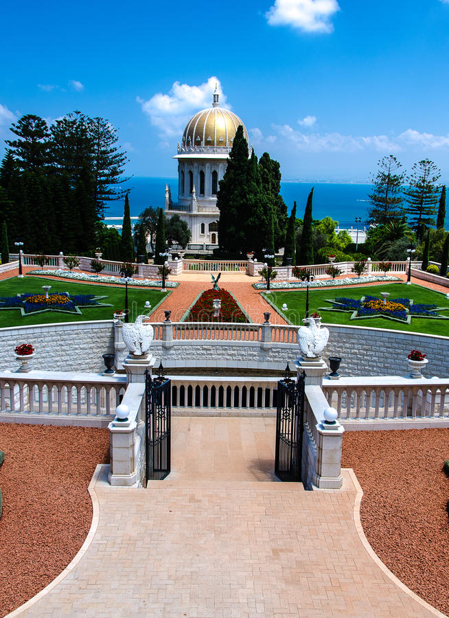 Motivi del tempio di Bahai, Haifa, Israele fotografie stock libere da diritti