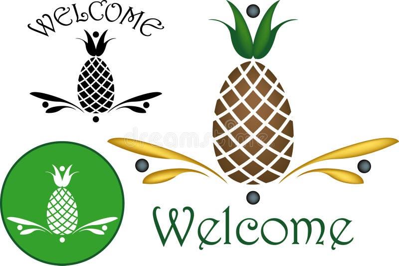 Motivi di ospitalità dell'ananas fotografia stock libera da diritti