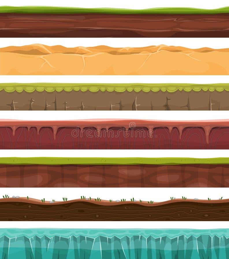 Motivi, terra e suolo senza cuciture per il gioco di Ui illustrazione vettoriale