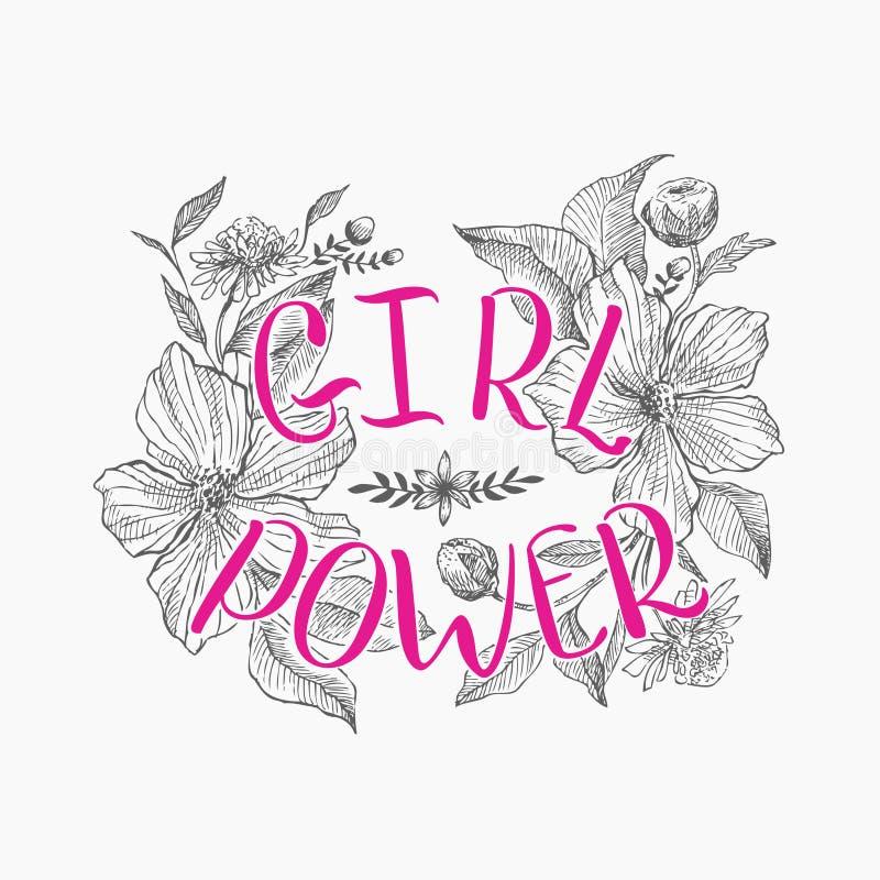 Motivierungswörter für Frauen, vor dem hintergrund der schönen Blumen lizenzfreie abbildung