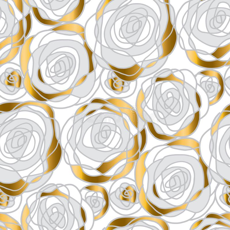 Motivo abstrato do ouro e da rosa do branco ilustração stock