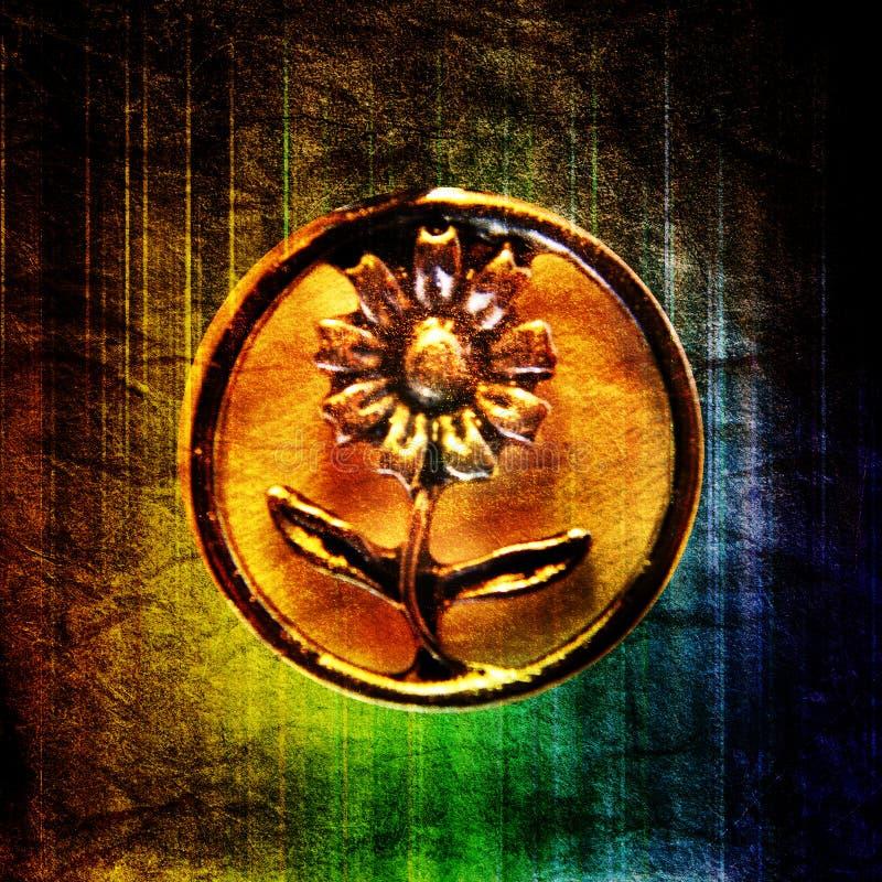 Motivo circular do metal da ?flor?, Close-up no arco-íris imagens de stock royalty free