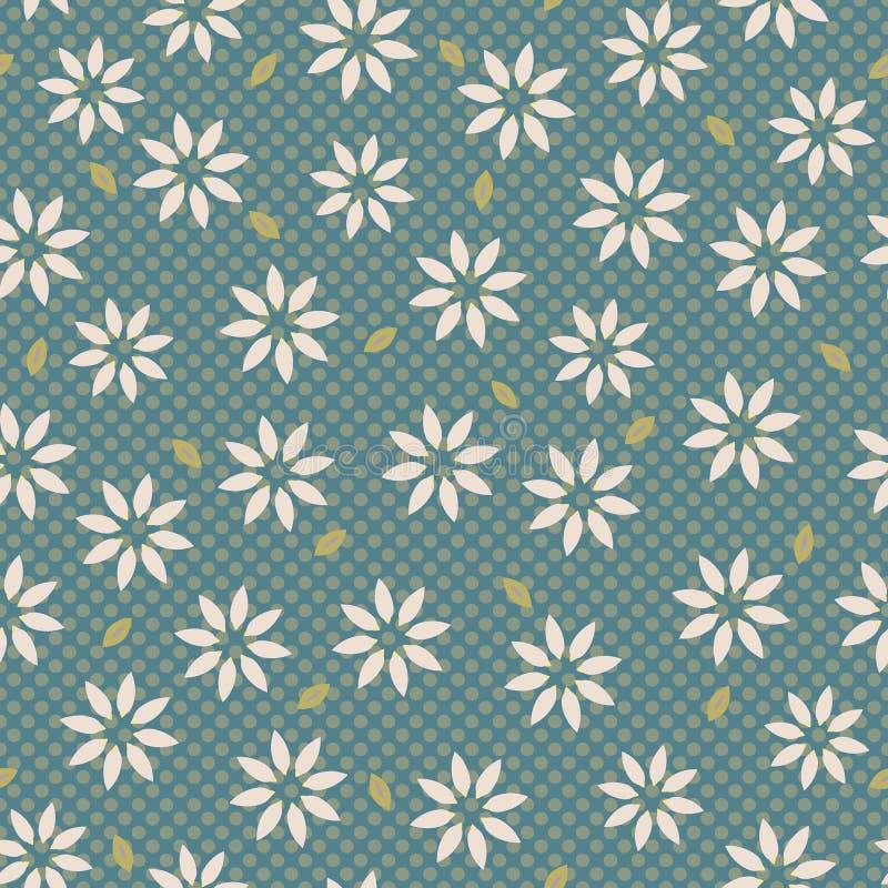 Motivo Daisy Style Seamless Vector Pattern del fiore dell'edelweiss Disegnato a mano illustrazione vettoriale