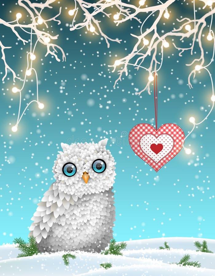 Motivo de la Navidad, búho blanco lindo que se sienta bajo rama seca con las luces eléctricas en el paisaje del invierno, ejemplo ilustración del vector
