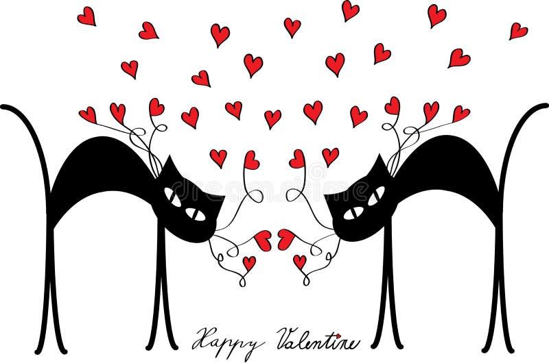 Motivo de la tarjeta del día de San Valentín con los gatos y los corazones stock de ilustración