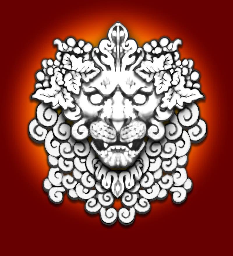 Motivo de pedra do leão ilustração do vetor