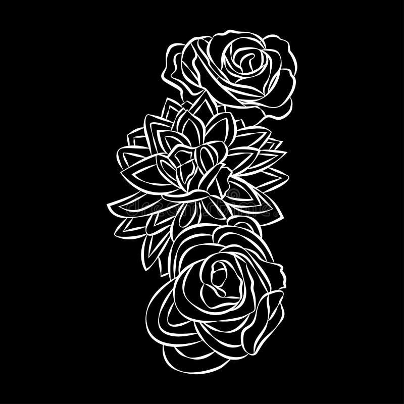 Motivo de Rosa, vetor dos elementos do projeto da flor no fundo preto ilustração do vetor