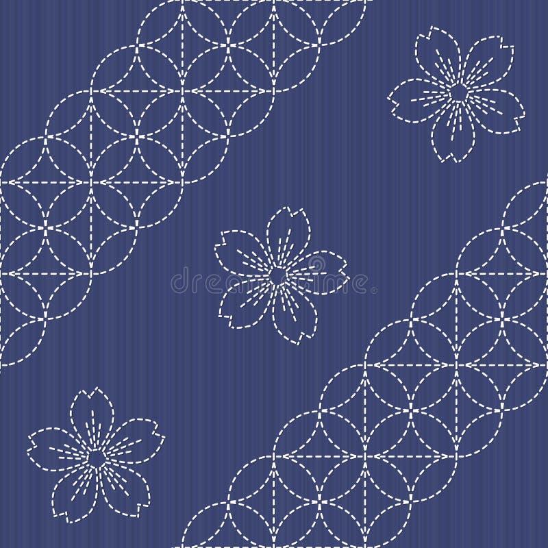 Motivo de Sashiko - flores de florescência da cereja Textura do bordado ilustração do vetor