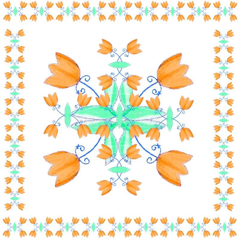 Motivo decorativo com as flores para guardanapo, xailes e lenços ilustração do vetor