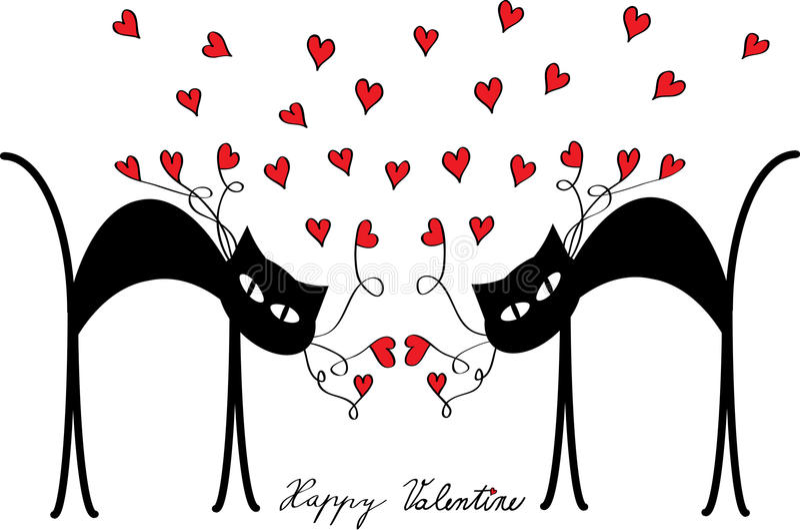 Motivo del biglietto di S. Valentino con i gatti ed i cuori illustrazione di stock