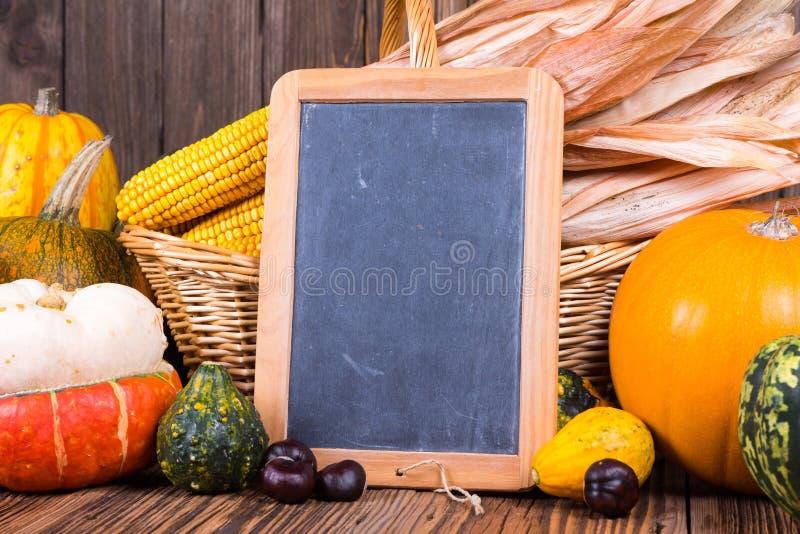 Motivo del raccolto di autunno con le varie zucche davanti ad un canestro con le pannocchie di granturco su un fondo di legno rus fotografie stock