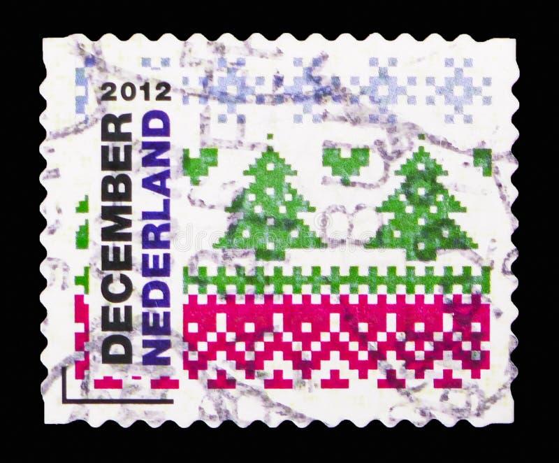 Motivo di Natale: albero di Natale, serie dei bolli di dicembre, circa 2012 fotografia stock libera da diritti