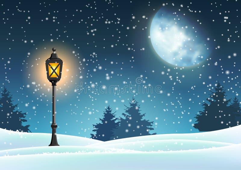 Motivo di Natale di inverno, lanterna d'annata in natura nevosa royalty illustrazione gratis