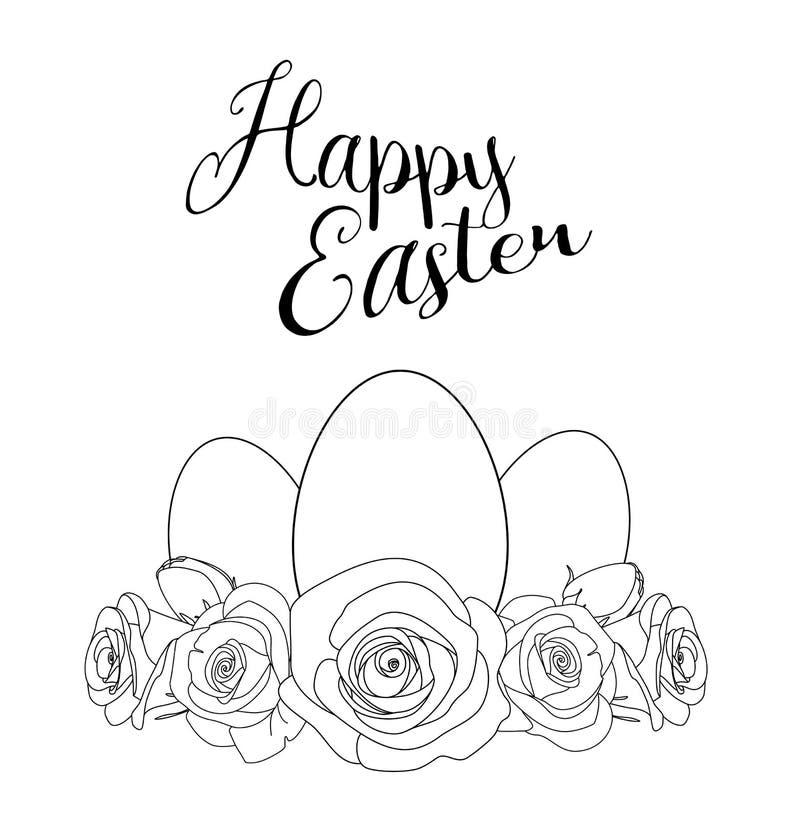 Motivo di Pasqua con le uova bianche e le rose, illustrazione illustrazione vettoriale