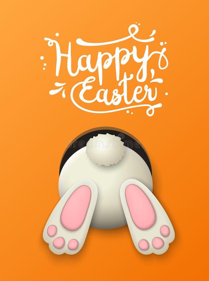 Motivo di Pasqua, fondo del coniglietto su fondo arancio, illustrazione illustrazione vettoriale