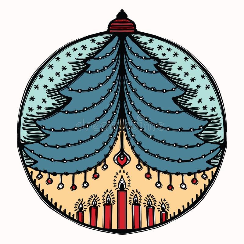 Motivo disegnato a mano dell'ornamento della bagattella di Natale Elemento festivo isolato di progettazione dell'albero della pal royalty illustrazione gratis