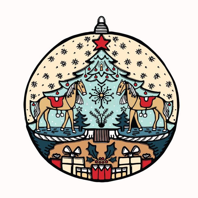 Motivo disegnato a mano dell'ornamento della bagattella di Natale Elemento festivo isolato di progettazione di deco della palla I royalty illustrazione gratis