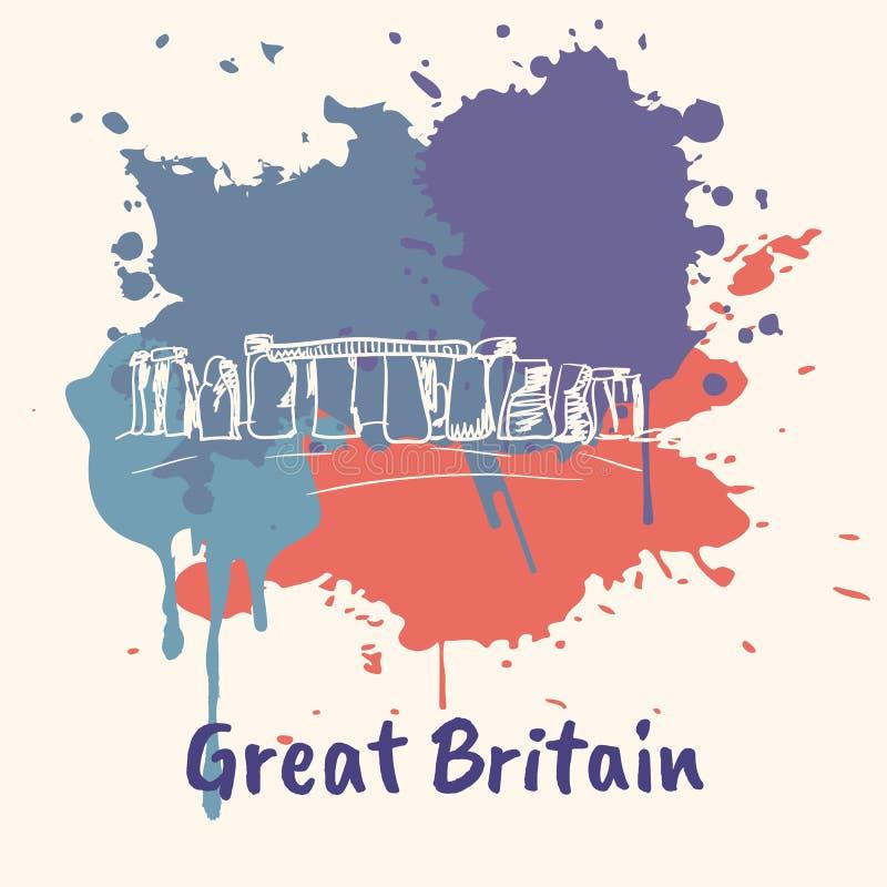 Motivo emotivo inglés con las atracciones históricas stock de ilustración