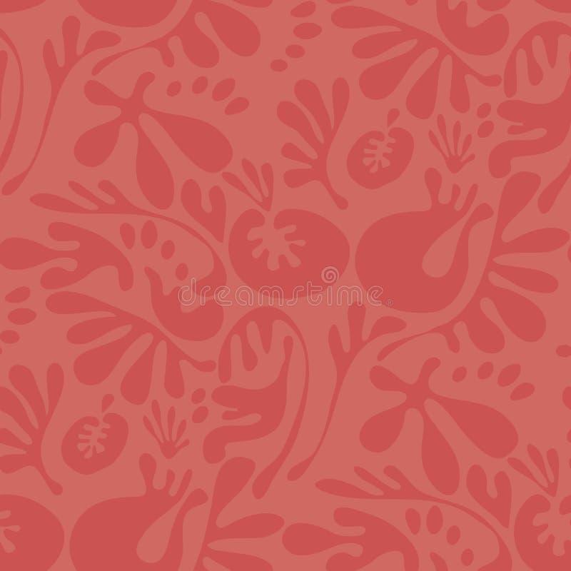Motivo floral da cor coral da fantasia do sumário ilustração stock